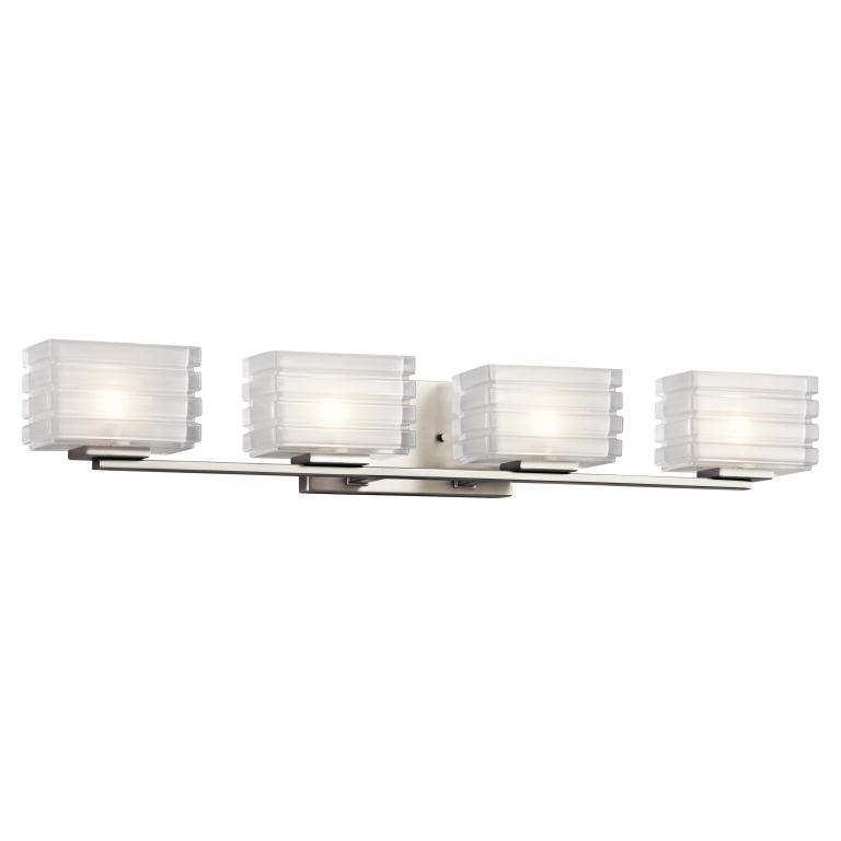 Kichler 45480NI Bazely Contemporary Brushed Nickel Finish 5u0026nbsp; Tall  Halogen 4 Light Bathroom Wall Sconce. Loading Zoom