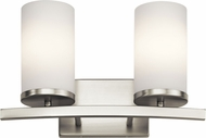 Kichler 45496NI Crosby Modern Brushed Nickel 2-Light Vanity Light Fixture