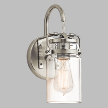 Kichler 45576NI Brinley Vintage Brushed Nickel Finish 11.5  Tall Lighting Wall Sconce