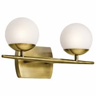 Kichler 45581NBR Jasper Modern Natural Brass Halogen 2-Light Bathroom Vanity Light Fixture