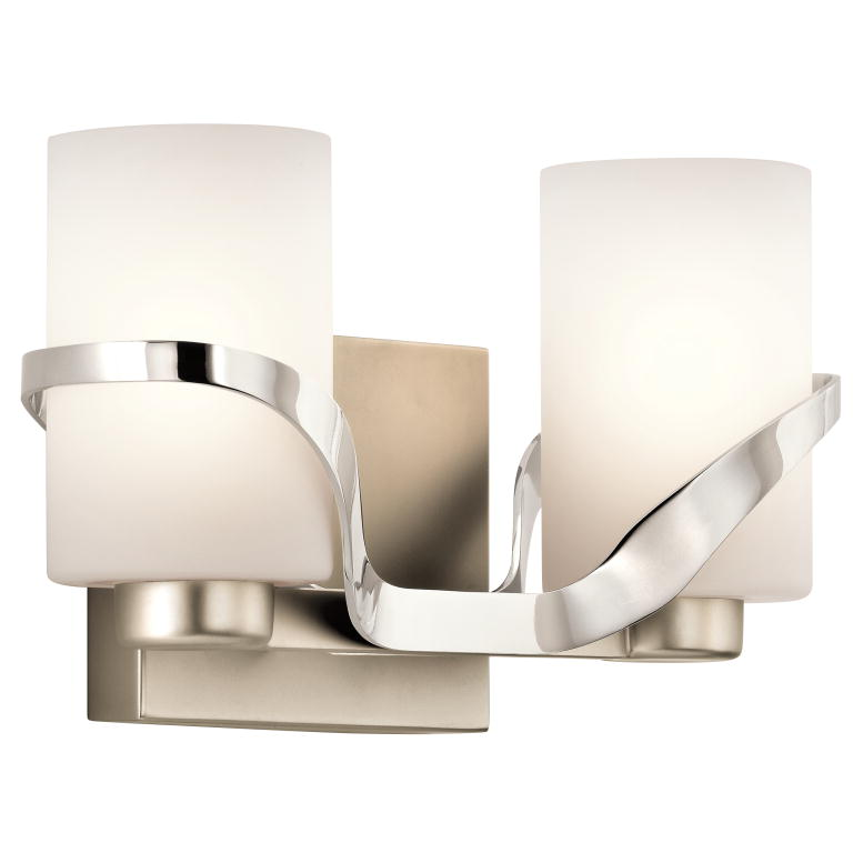 Kichler 45628PN Stelata Modern Polished Nickel 2 Light Bath Lighting Fixture.  Loading Zoom