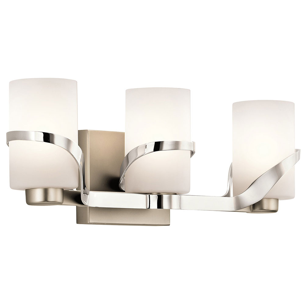 Kichler 45629pn Stelata Contemporary Polished Nickel 3 Light Bathroom Fixture Loading Zoom