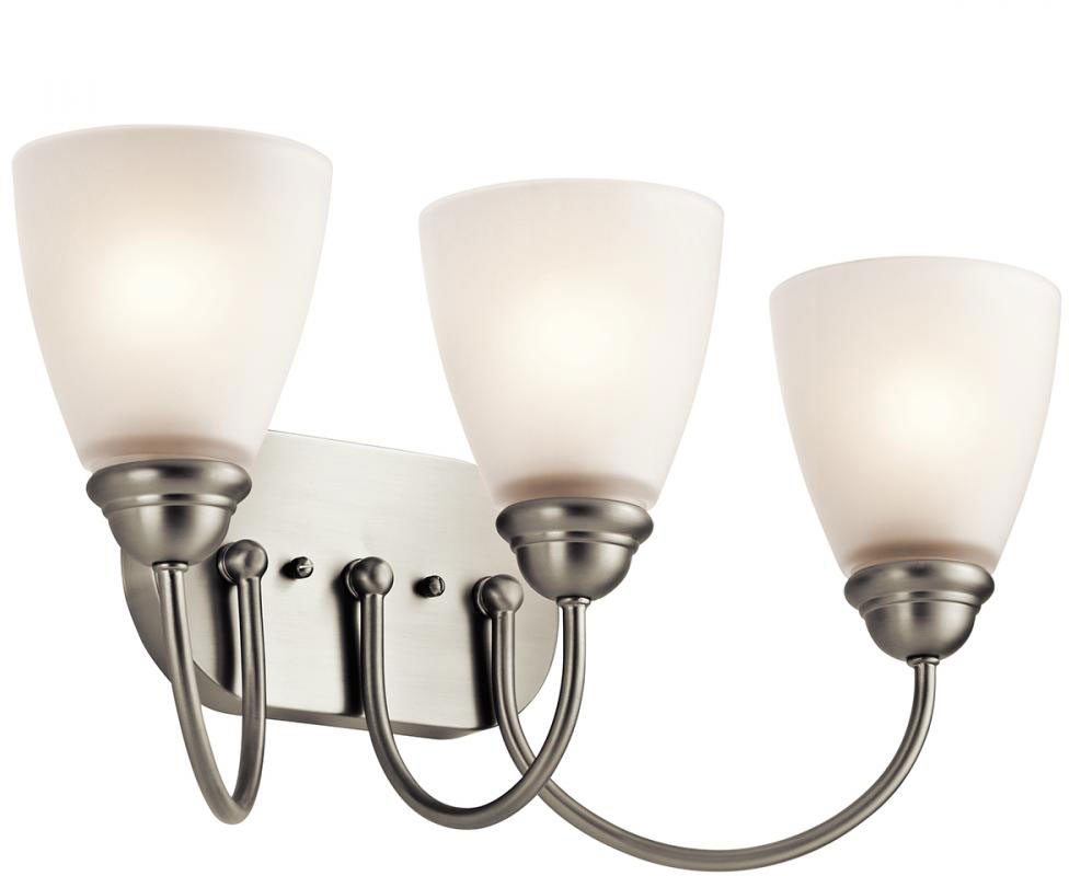 Kichler 45639NI Jolie Brushed Nickel 3-Light Bathroom Vanity Light ...