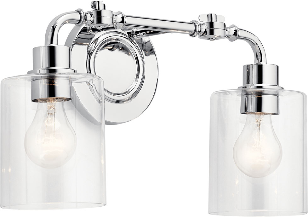 Kichler 45665ch Gunnison Contemporary Chrome 2 Light Vanity Lighting Fixture