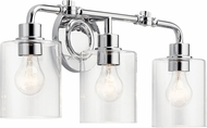 Kichler 45666CH Gunnison Modern Chrome 3-Light Bathroom Vanity Light Fixture