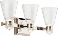 Kichler 45712PNLED Kayva Contemporary Polished Nickel LED 3-Light Bathroom Light Sconce