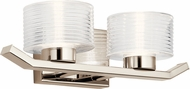 Kichler 45722PNLED Lasus Contemporary Polished Nickel LED 2-Light Bath Sconce