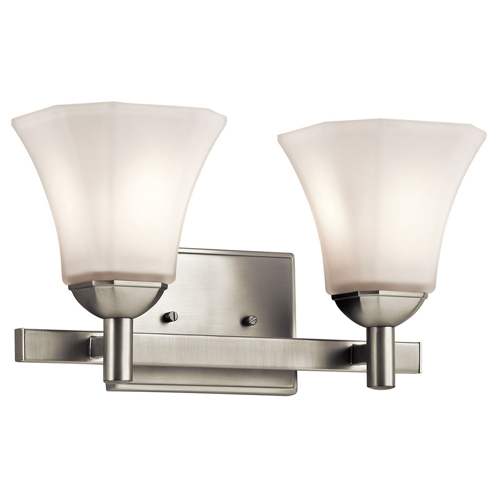 Kichler 45732ni Serena Brushed Nickel 2 Light Bath Wall Sconce Loading Zoom