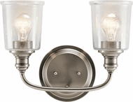 Kichler 45746CLP Waverly Modern Classic Pewter 2-Light Bathroom Light Sconce