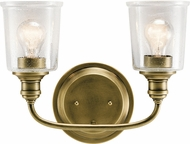 Kichler 45746NBR Waverly Contemporary Natural Brass 2-Light Bathroom Lighting Sconce