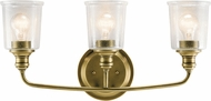 Kichler 45747NBR Waverly Contemporary Natural Brass 3-Light Bath Lighting Sconce