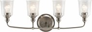 Kichler 45748CLP Waverly Modern Classic Pewter 4-Light Bathroom Wall Light Fixture