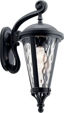 Kichler 49234BSL Cresleigh Black with Silver Highlights Exterior Wall Sconce Lighting