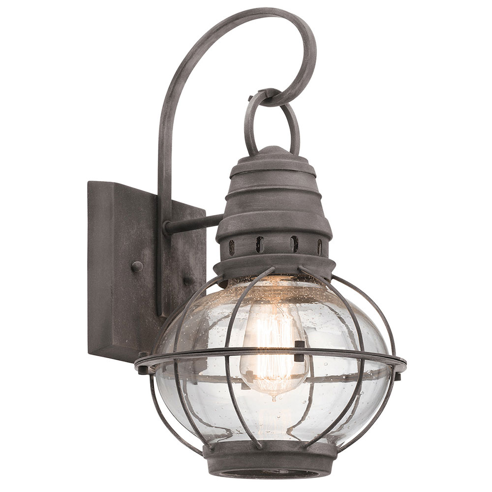 Kichler 49628wzc Bridge Point Nautical Weathered Zinc Outdoor Medium Wall Sconce Light