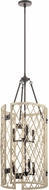 Kichler 52079WWW Oana White Washed Wood Drum Pendant Lighting Fixture