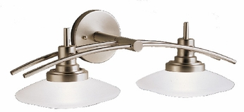 Kichler 6162-NI Structures Contemporary 2-Lamp Halogen Vanity Light in Brushed Nickel