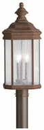 Kichler 9918TZ Kirkwood Tannery Bronze 3 Candle Classic Lantern Outdoor Post Lamp