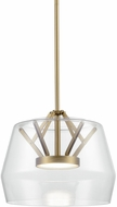 Kuzco PD61412-CL-VB Deco Modern Clear / Vintage Brass LED Mini Lighting Pendant
