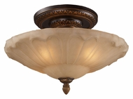 ELK 08093-AGB Restoration Flushes Golden Bronze Finish Amber Antique Glass Ceiling Light