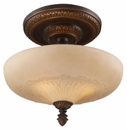 ELK 08094-AGB Restoration Flushes Amber Antique Glass 15 Inch Diameter Overhead Lighting