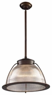 ELK 600141 Halophane Wide Pendant Light in Aged Bronze
