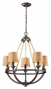 ELK 63015-5 Natural Rope Rustic 5 Lamp Aged Bronze Chandeleir With Shades