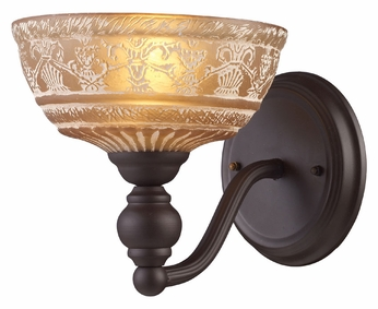 ELK 66190-1 Norwich Antique Style Amber Glass 8 Inch Tall Lamp Sconce
