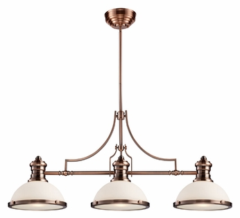 ELK 66245-3 Chadwick Antique Copper Finish 47 Inch Wide 3 Lamp Island Light