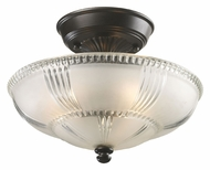 ELK 66335-3 Restoration Flushes Oiled Bronze 12 Inch Diameter Ceiling Light Fixture - Frosted/Clear Glass