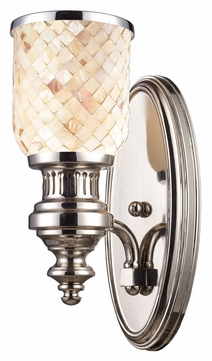 ELK 66410-1 Chadwick Polished Nickel Finish Cappa Shell Glass Sconce Lighting