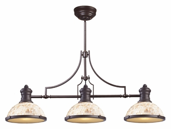 ELK 66435-3 Chadwick Oiled Bronze Finish 47 Inch Wide Kitchen Island Light - Cappa Shell