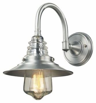 ELK 66702-1 Insulator Glass Vintage 14 Inch Tall Wall Sconce - Brushed Aluminum