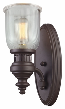 ELK 66760-1 Chadwick 15 Inch Tall Oiled Bronze Ribbed Wall Light Fixture