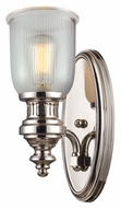 ELK 66780-1 Chadwick Ribbed Glass Polished Nickel Wall Sconce Light