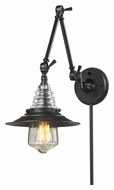 ELK 66816-1 Insulator Glass Vintage Swing Arm Wall Lamp - Oiled Bronze