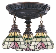 ELK 997-AW-09 Mix-N-Match Tiffany Pink Rose 14 Inch Diameter 3 Light Ceiling Lamp - Aged Walnut