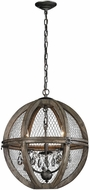 ELK Home 140-007 Renaissance Invention Aged Wood, Bronze, Clear Crystal 18  Drop Lighting
