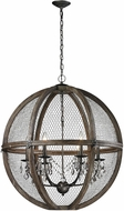 ELK Home 140-008 Renaissance Invention Aged Wood, Bronze, Clear Crystal 30  Drop Ceiling Lighting