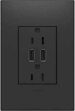 Legrand Adorne ARTRUSB153G4WP Outlets Contemporary Graphite Dual USB Plus-Size Outlet Combo with Matching Wall Plate