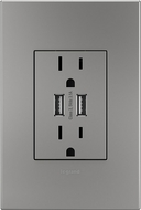 Legrand Adorne ARTRUSB153M4WP Outlets Modern Magnesium Dual USB Plus-Size Outlet Combo with Matching Wall Plate