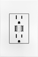 Legrand Adorne ARTRUSB153W4WP Outlets Contemporary White Dual USB Plus-Size Outlet Combo with Matching Wall Plate