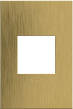 Legrand Adorne AWC1G2BSB4 Cast Metals Contemporary Brushed Satin Brass 1-Gang Wall Plate