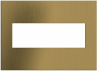 Legrand Adorne AWC3GBSB4 Cast Metals Contemporary Brushed Satin Brass 3-Gang Wall Plate