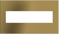Legrand Adorne AWC4GBSB4 Cast Metals Contemporary Brushed Satin Brass 4-Gang Wall Plate