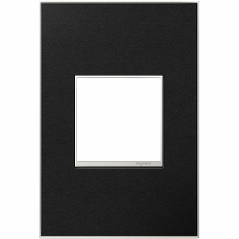 Legrand Adorne AWM1G2LE4 Contemporary Black Leather Black Leather 1-Gang Wall Plate