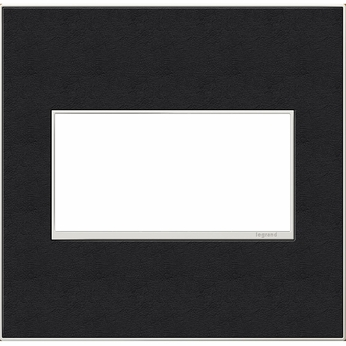 Legrand Adorne AWM2GLE4 Contemporary Black Leather Black Leather 2-Gang Wall Plate
