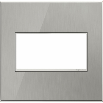 Legrand Adorne AWM2GMS4 Modern Mirror Brushed Stainless Brushed Stainless 2-Gang Wall Plate