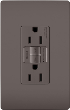 Legrand Radiant 1597TR Contemporary Brown Spec-Grade Tamper-Resistant 15A Self-Test Duplex GFCI Outlet