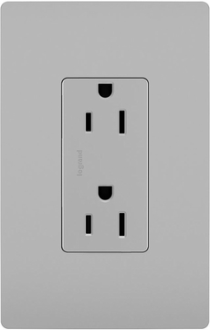 Legrand Radiant 885TRGRY Contemporary Gray 15A Decorator Tamper-Resistant Outlet Receptacle
