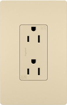 Legrand Radiant 885TRWRI Contemporary Ivory 15A Decorator Tamper-Resistant Weather-Resistant Outlet Receptacle